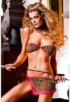 Baci skirt set leopard g-string conjunto 2 piezas leopardo
