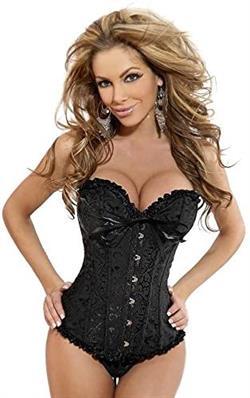 Corset M&S lingerie talla M black overbust negro