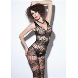 Queen lingerie cuerpo en red negro con abertura